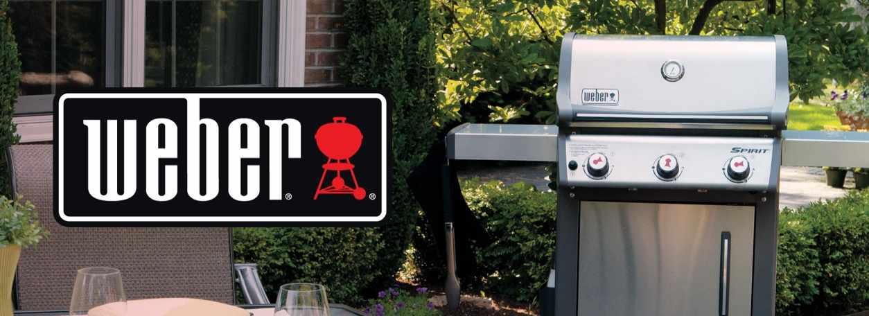 Weber logo with weber grill in backyard