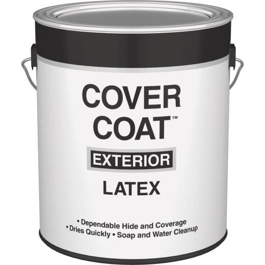 Cover Coat Latex Flat Exterior House Paint, White, 1 Gal.