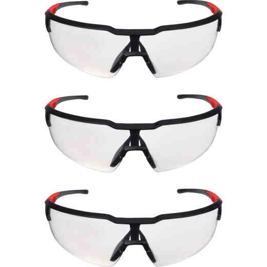 Milwaukee Red & Black Frame Safety Glasses with Clear Anti-Scratch Lenses (3-Pack)